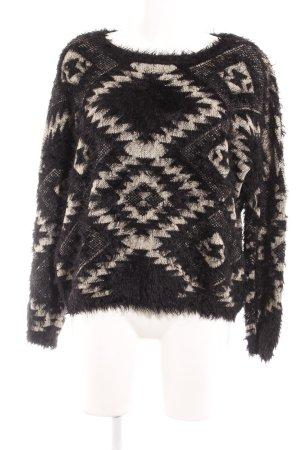 Sweewe Wollpullover schwarz-weiß abstrakter Druck Street-Fashion-Look