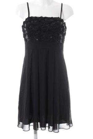 Swing A-Linien Kleid schwarz florales Muster Elegant