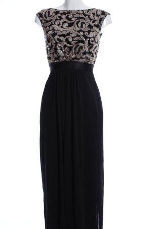 Swing Abendkleid schwarz-silberfarben Blumenmuster Elegant