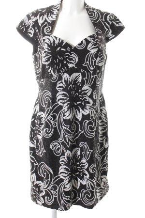 Swing Bleistiftkleid schwarz-weiß Blumenmuster Elegant