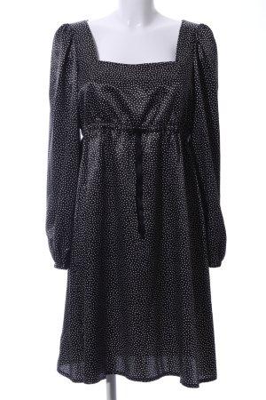 Swing Blusenkleid schwarz-weiß Allover-Druck Casual-Look
