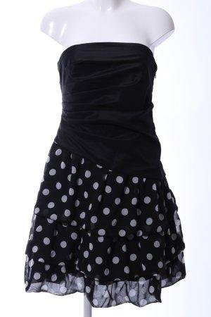 Swing Chiffonkleid schwarz-hellgrau Punktemuster Elegant