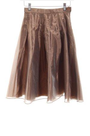 Swing Faltenrock hellbraun-bronzefarben Casual-Look