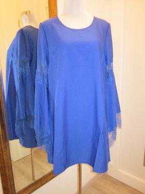 Swing Kleid mit weiten Spitzen Ärmeln Royalblau Neu Gr L