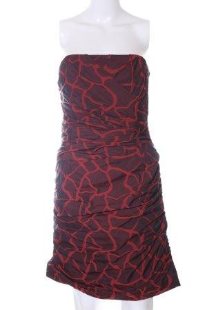 Swing Minikleid rot-braun abstraktes Muster Elegant
