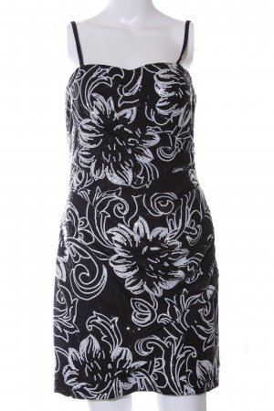 Swing schulterfreies Kleid schwarz-weiß Blumenmuster Elegant