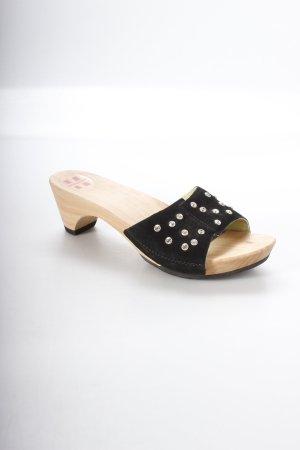 Swissoccoli Clog Sandalen schwarz Schmucksteinverzierung