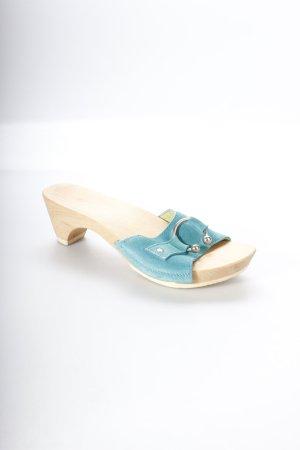 Swissoccoli Clog Sandalen türkis Metallelemente