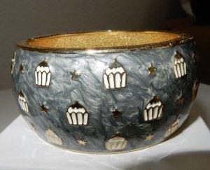 SYL Armreif grau marmoriert / weiß / gold