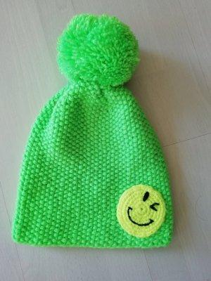 Sylt Brands Mütze Bommel Pudelmütze Strick Knit Pompom Smiley Neon