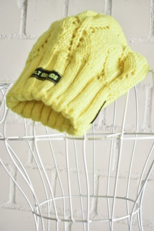 Knitted Hat yellow mixture fibre