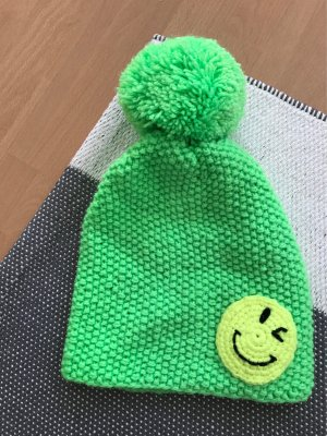 Sylt Brands Mütze Knit Beanie Neon Smiley Bommel
