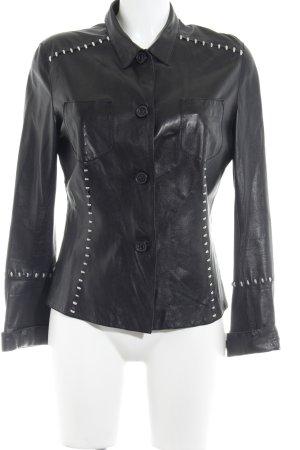 sylvie schimmel Paris Langarmhemd schwarz-wollweiß Country-Look