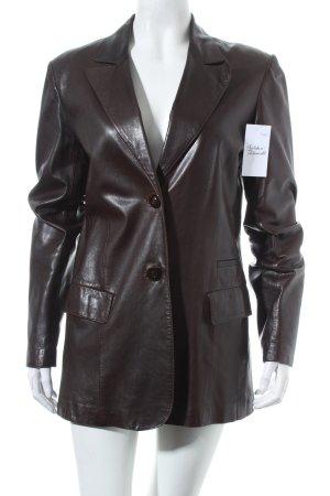 sylvie schimmel Paris Leder-Blazer dunkelbraun Vintage-Look