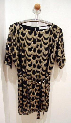 T-Bags Minikleid aus Seide Gold Schwarz Shiftdress mit Gürtel