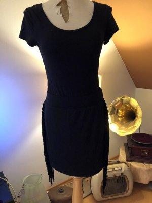 T-Bags, Women's Fringe Mini Skirt , Raven Black, Rock, Mini, Fransen