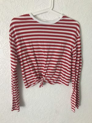 H&M Cropped shirt wit-rood