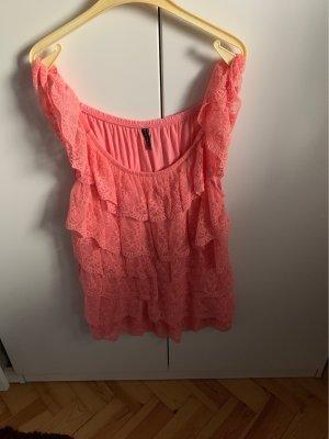 Amisu Camisa con cuello caído rosa-naranja oscuro