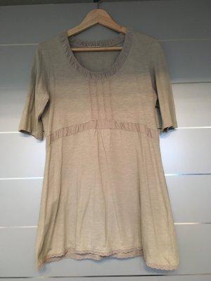 T-Shirt 3/4 ärmlig beige mit Cord und Spitze-Details Gr. 38