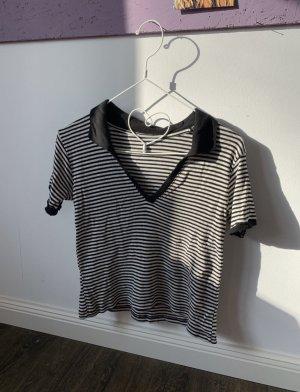 Brandy & Melville T-shirt col en V blanc-noir