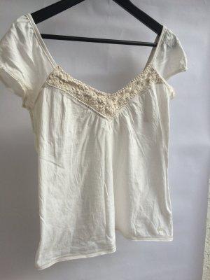 T-Shirt A&F weiß beige