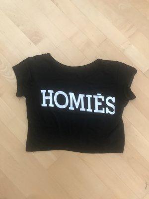 Cropped shirt zwart-wit