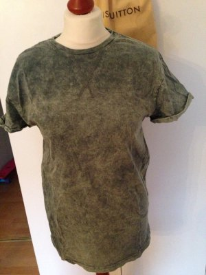 T-Shirt acid washed grün green Hipster S Oversize 38