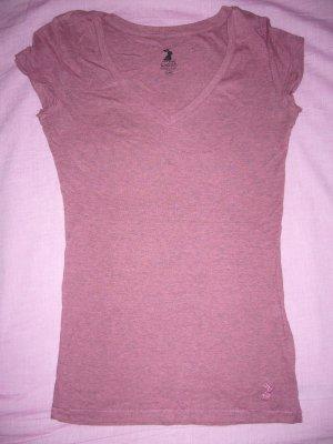 T-Shirt Altrosa-Melange V-AusschnittTally XXS 32