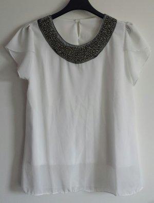 T-Shirt aus Chiffon mit Perlen