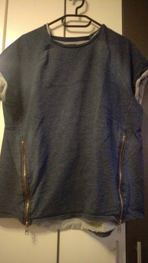 T-Shirt aus Jeansstoff mit Reißverschlüssen Größe L