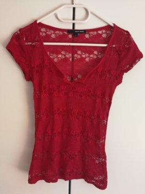 T-Shirt aus roter Spitze