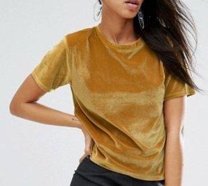 T-Shirt aus Samt in Gold