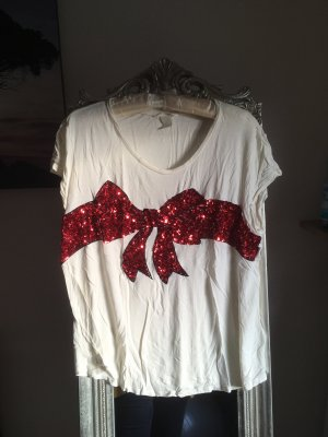 H&M Print Shirt white-red