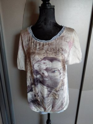 T-Shirt beige blau Spitze Made in Italy