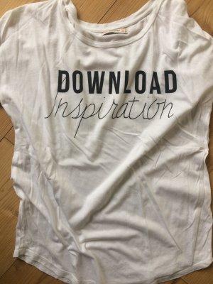 T-Shirt Bershka weiß Aufdruck Statement Gr. M