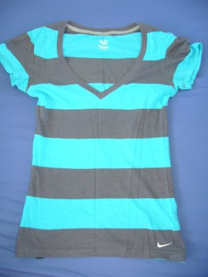 T-Shirt blau/grau gestreift Nike XS 34
