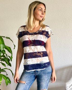T-Shirt / blau weiß gestreift / Spitze / durchsichtig