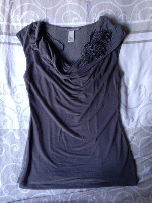 T-Shirt Bluse H&M Anthrazit Gr. S Blumenapplikation