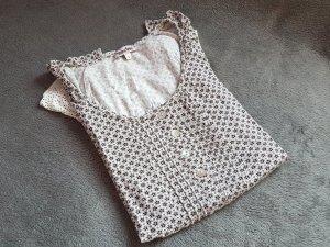 T-Shirt Bluse Kleid Braun Weiß Schößchen Volants Perlmutt Gr. 36