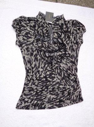 Blusa de manga corta blanco-negro