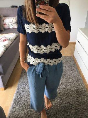 T-Shirt Bluse Tunika blau creme Spitze 36 S