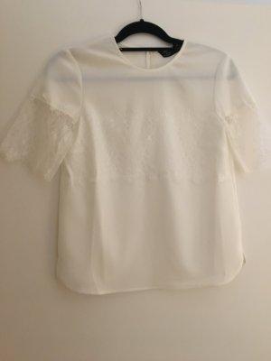 T-Shirt Bluse weiß mit Spitzenapplikation XS