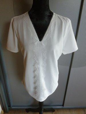 Esprit V-Neck Shirt white polyamide