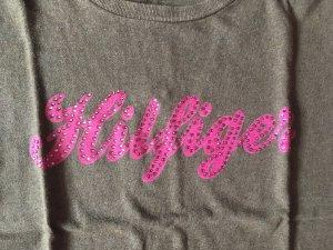 T-Shirt Braun pink mit Glitzersteinen von Thommy Hilfiger
