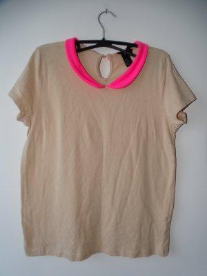 T-Shirt Bubikragen (Pink) Kurzarm Beige/Pink Gr. M H&M (NP: 25€)
