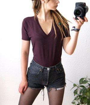 T-Shirt burgund von Zero, sporty Shirt weinrot-lila, preppy