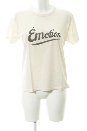 T-Shirt creme-dunkelgrau platzierter Druck Casual-Look
