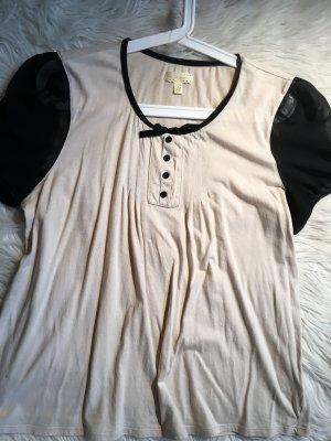 T-Shirt, Creme/schwarz