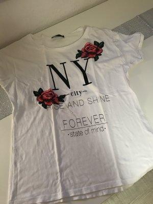T Shirt Damen weiß NY Rosen