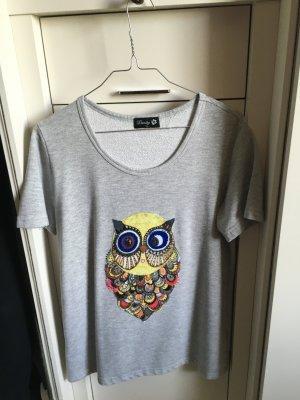 T Shirt Danity , grau , Muster mit Eule